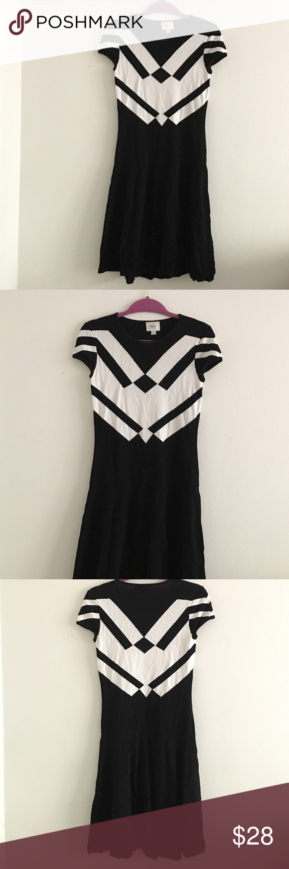 Eci Black/White Dress Classic a-line dress by Eci. It's perfect for work but can also transition to night. Fun and easy dress to wear in great condition. There is definitely some stretch but still true to size. ECI Dresses Mini