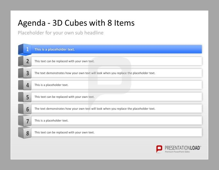 Professional PowerPoint Agenda Template 3D Cubes with 8 Items   - professional agenda templates