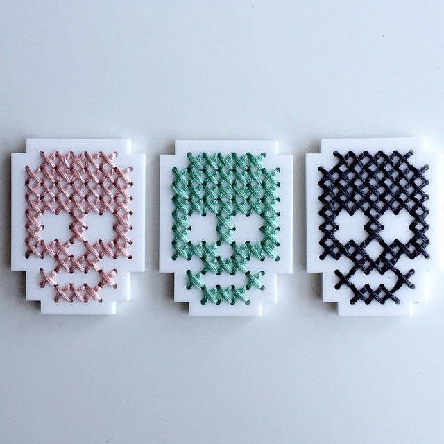 SnapWidget | Progress #skull #crossstitch #xstitch #lasercut #handmade #brooch #embroidery