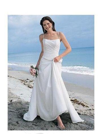 A-Line Princess Spaghetti Chapel Train wedding dress (WS2112 ...