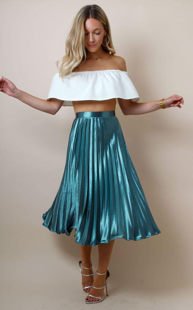 be02c1213a9ba Metallic Satin Pleated High Waist Midi Skirt - Teal by Pretty Lavish ...