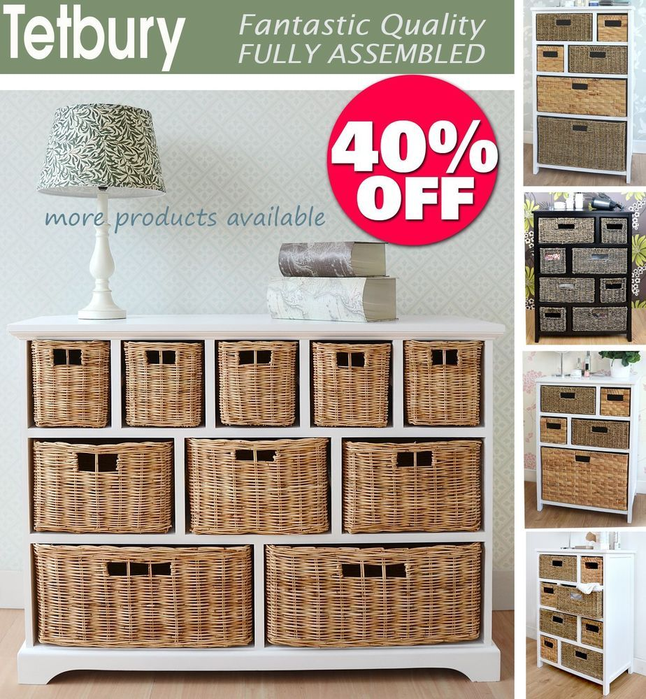 Tetbury Storage Unit Large Chest Of Drawers Storage Baskets Fully Assembled Home Furniture Storage Baskets Large Chest Of Drawers White Wicker Furniture