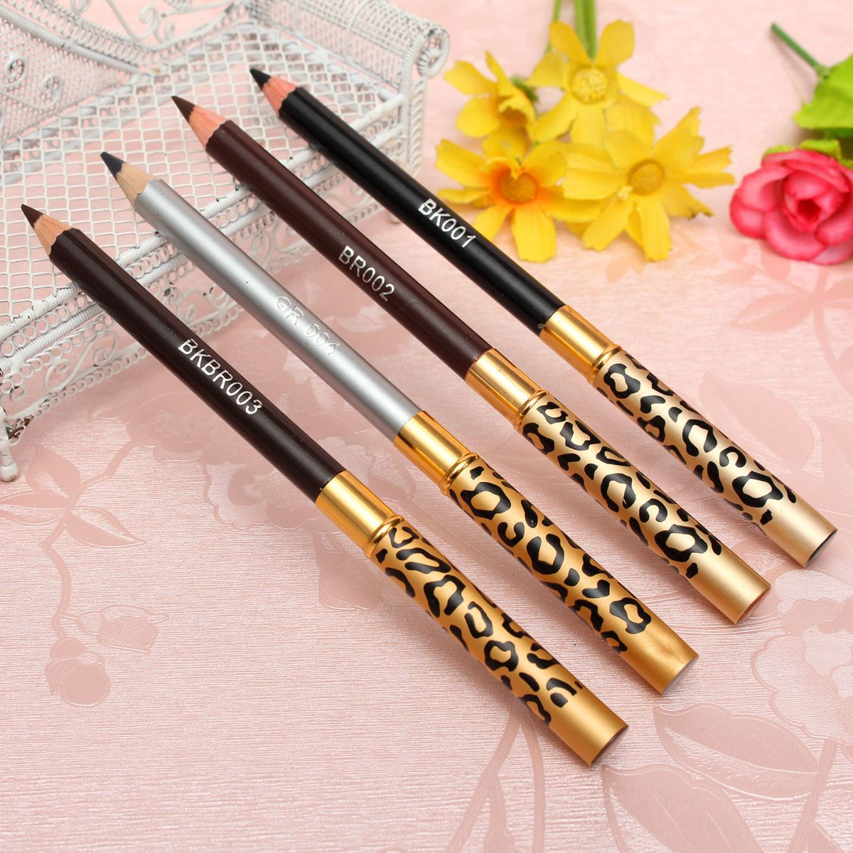 4 Colors 2 in 1 Makeup Eye Liner Eyebrow Pencil Pen Brush
