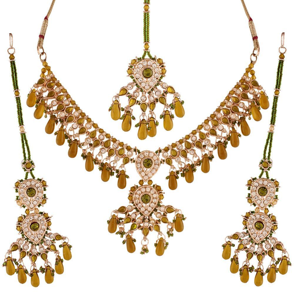 Green gold plated austrian diamond necklace set products