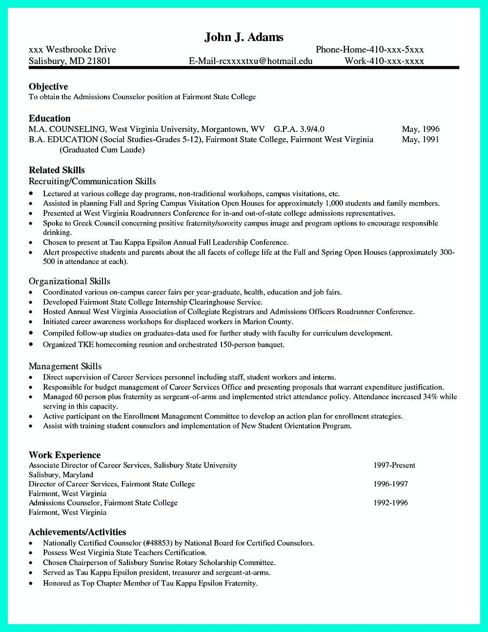 college application resume is very advantageous when you want to apply for a college not