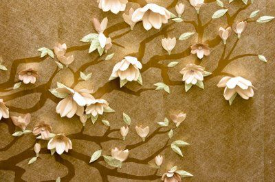 Magnolia Wall Scapes. These could be easily recreated with patterned wallpaper just like the original here.