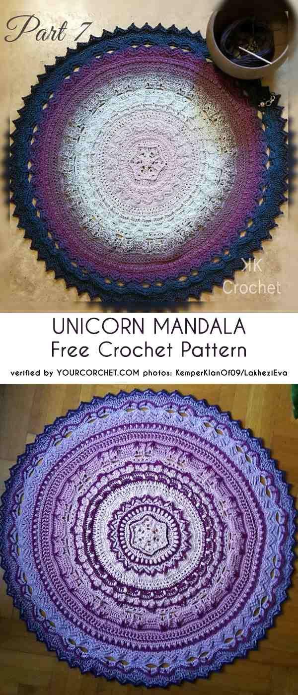 0-unicorn-mandala-free-crochet-pattern #crochetmandalapattern