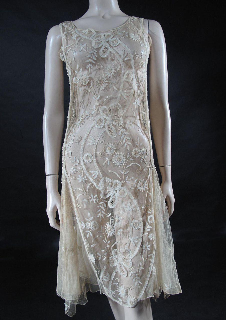 1920′s Handmade Ecru Lace Dress   Dress, irish crochet   Pinterest