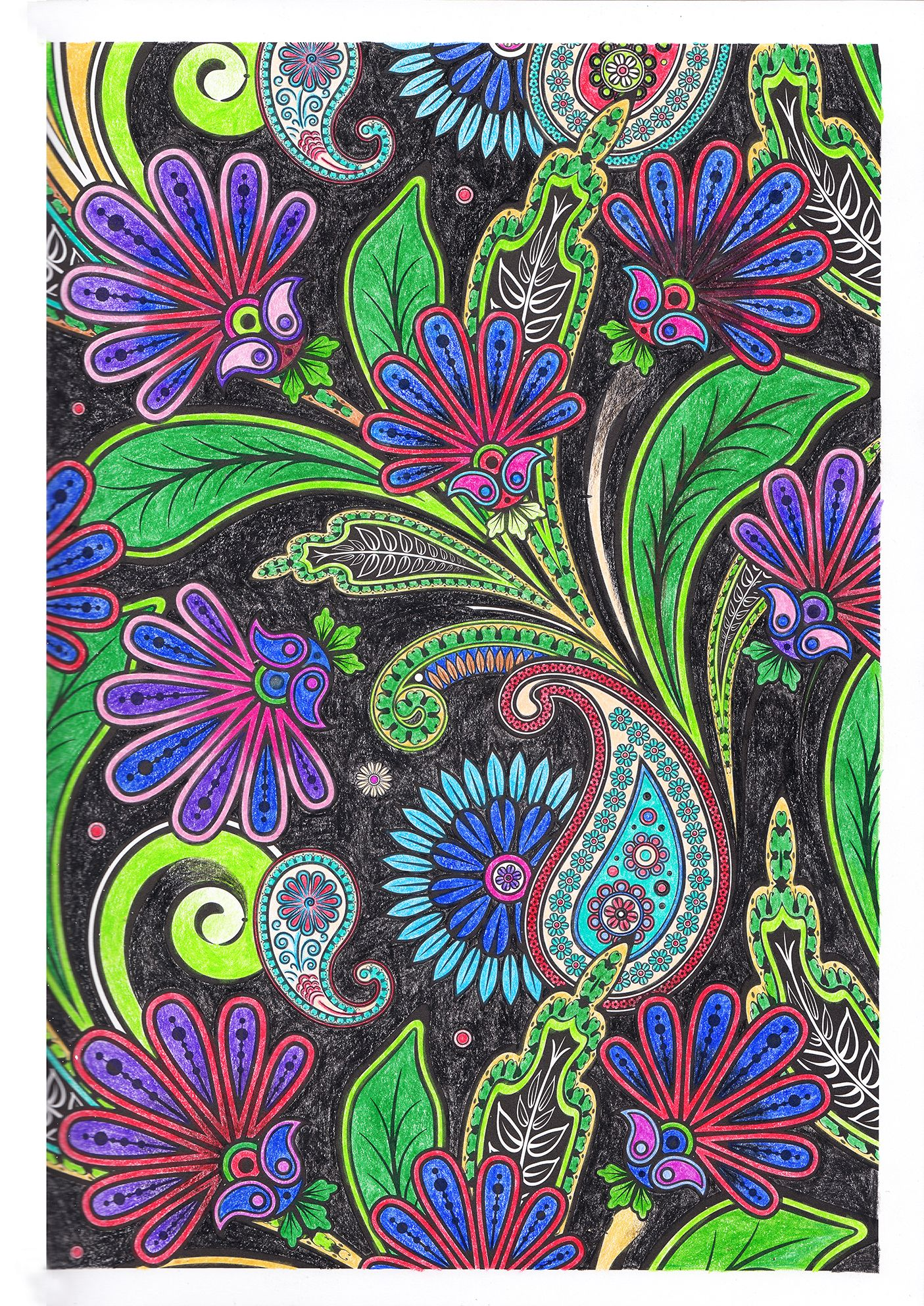 Colouring Pages For Adults Flowers On Black Background By Sandrakz Flowers Black Background Colorful Backgrounds Trendy Flowers