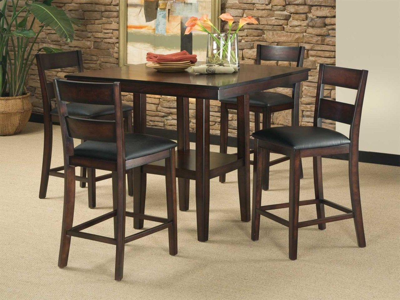 Standard Furniture Pendelton Counter Height Table And Four Stools In Dark  Cherry My New Kitchen Table!