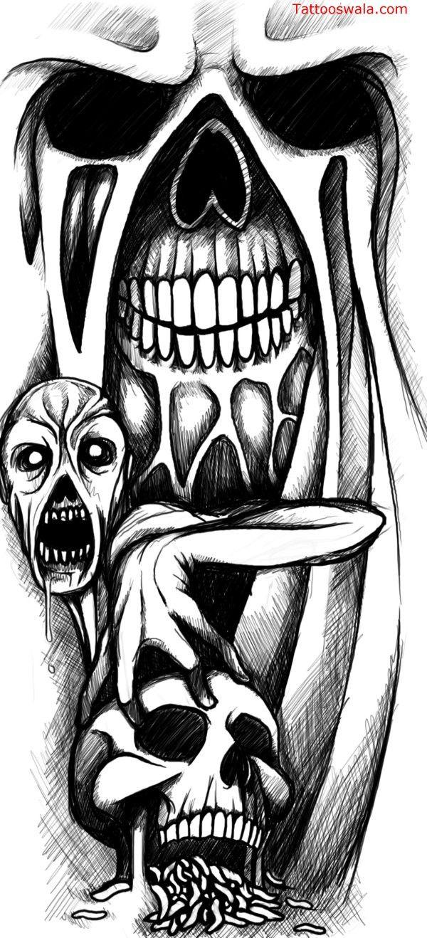 DEATH SCYTHE SKELETON SKULLS ZOMBIES Step by Step Airbrush Stencil Template