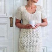 Крючком кружевное платье с укороченным рукавом фото к описанию