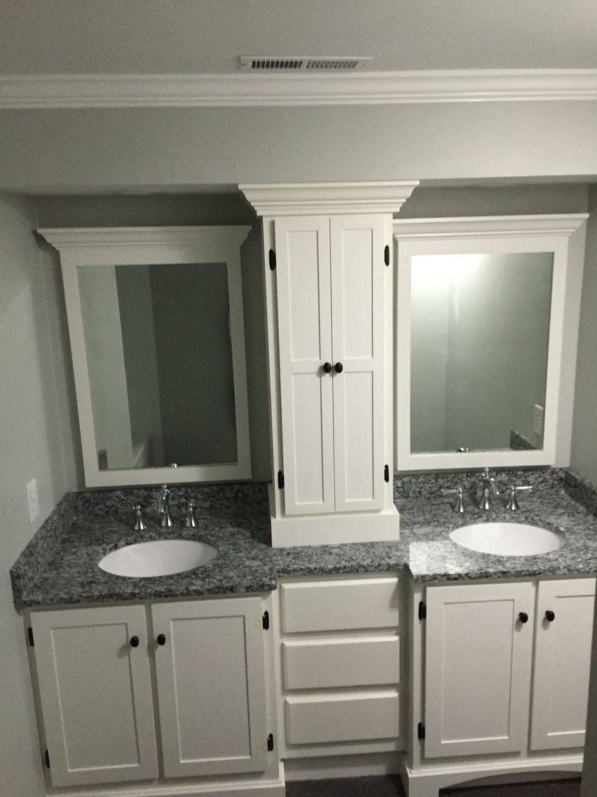 Double Vanity With Custom Center Tower In 2019 Bathroom Storage Bathroom Bathroom Tile Designs