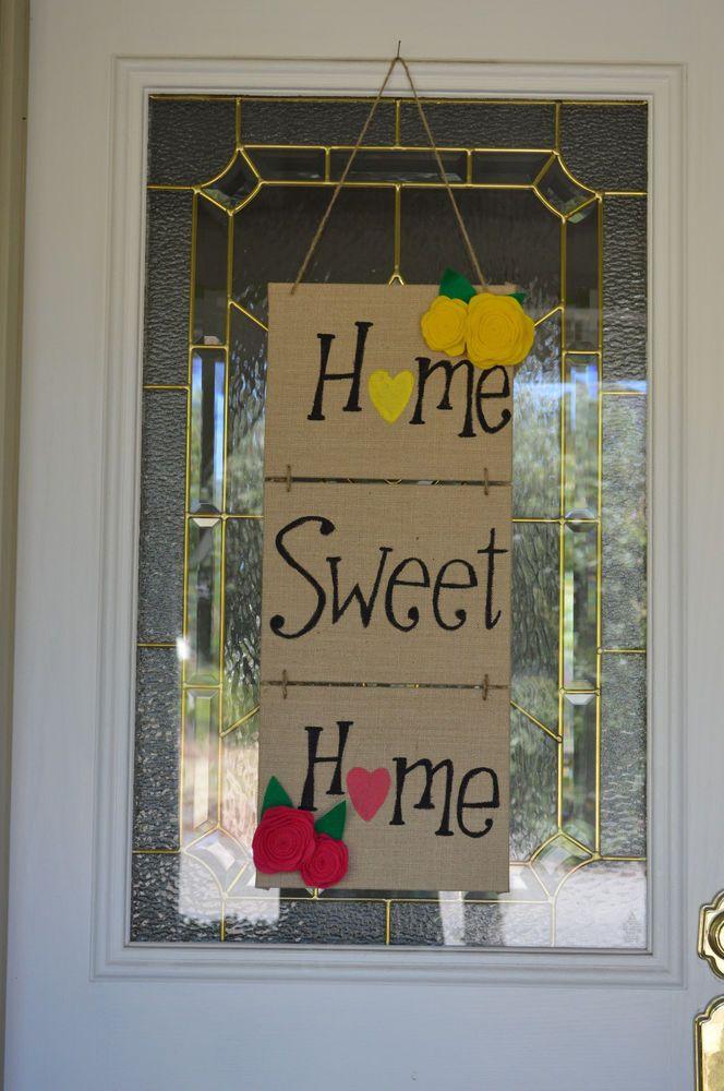 3 Burlap Panels Home Sweet Home Decor Hand Written Painted ...