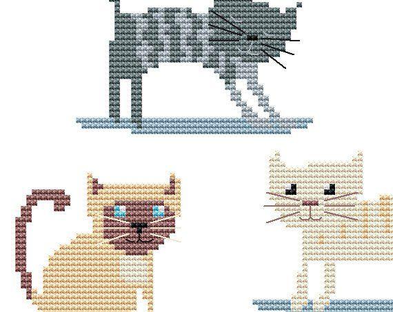 Cat cross stitch pattern pdf - instant download - animal cross
