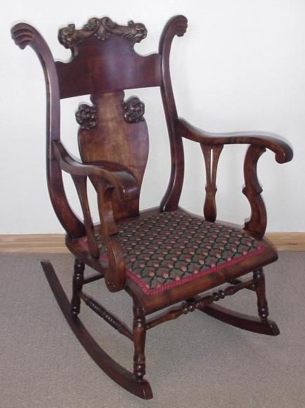 Victorian Mahogany Rocking Chair W Lion Heads Old