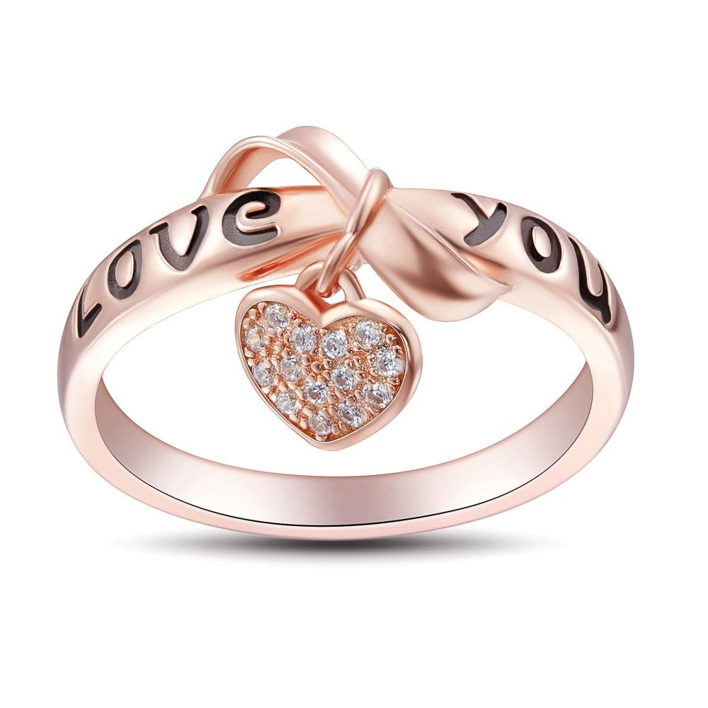 Bowknot design love you sterling silver womenus ring my