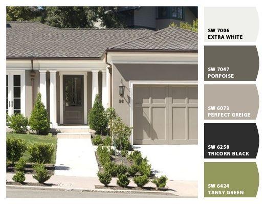 exterior paint colors (body - SW6073 perfect greige, trim - BM1603 ...