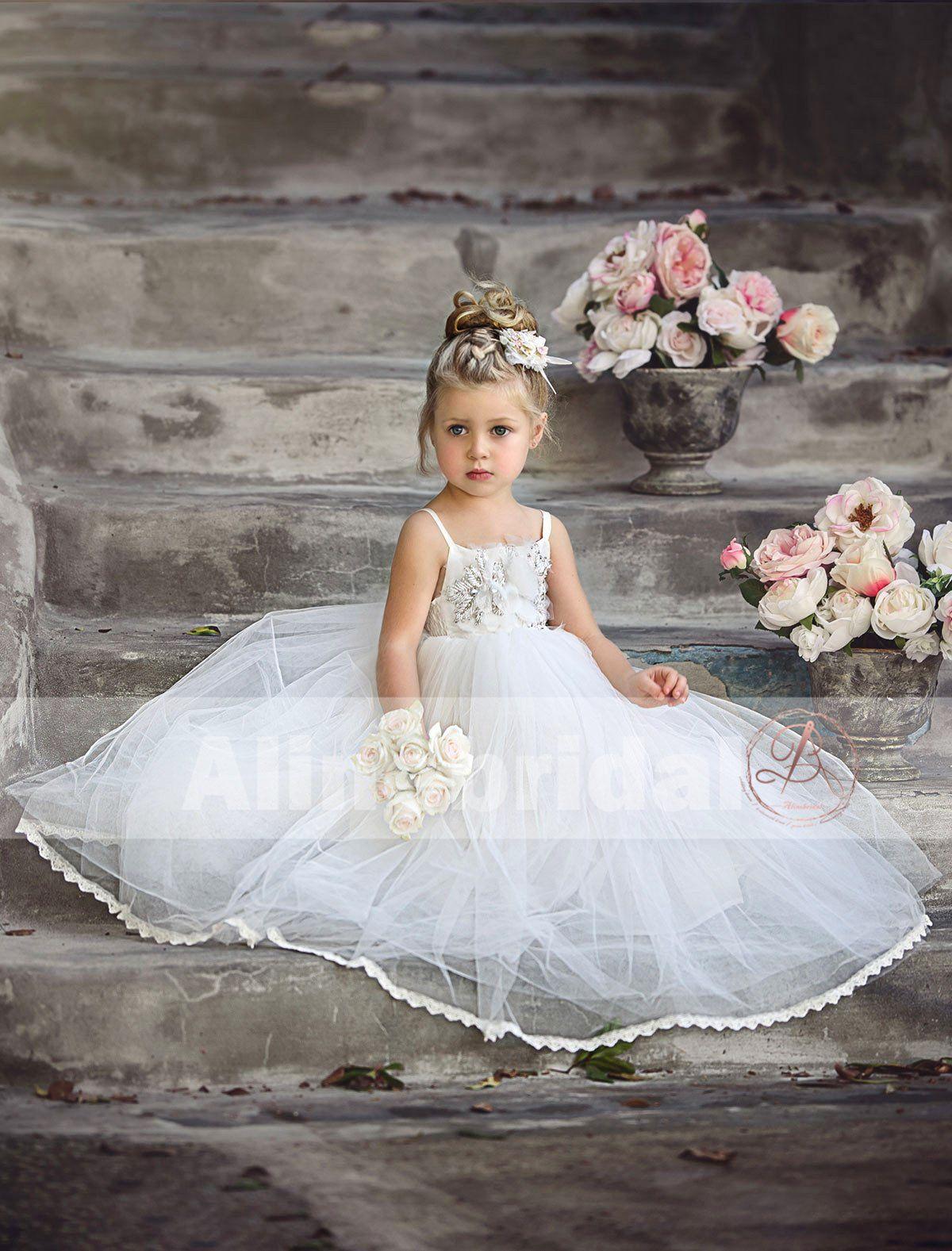 8a865f87acaee Spaghetti Strap Gold Beads Handmade Flower Tulle Flower Girl Dresses, –  AlineBridal