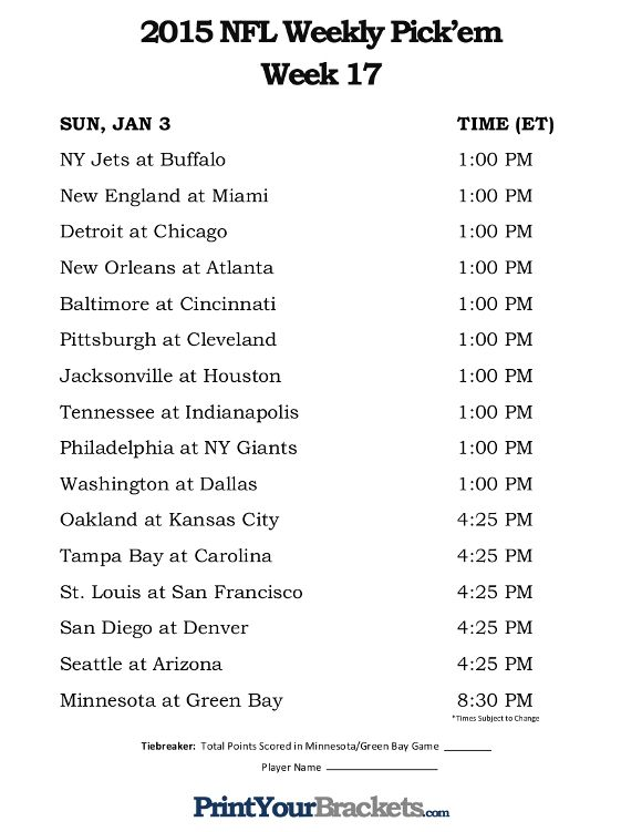 Trust image within nfl week 17 schedule printable