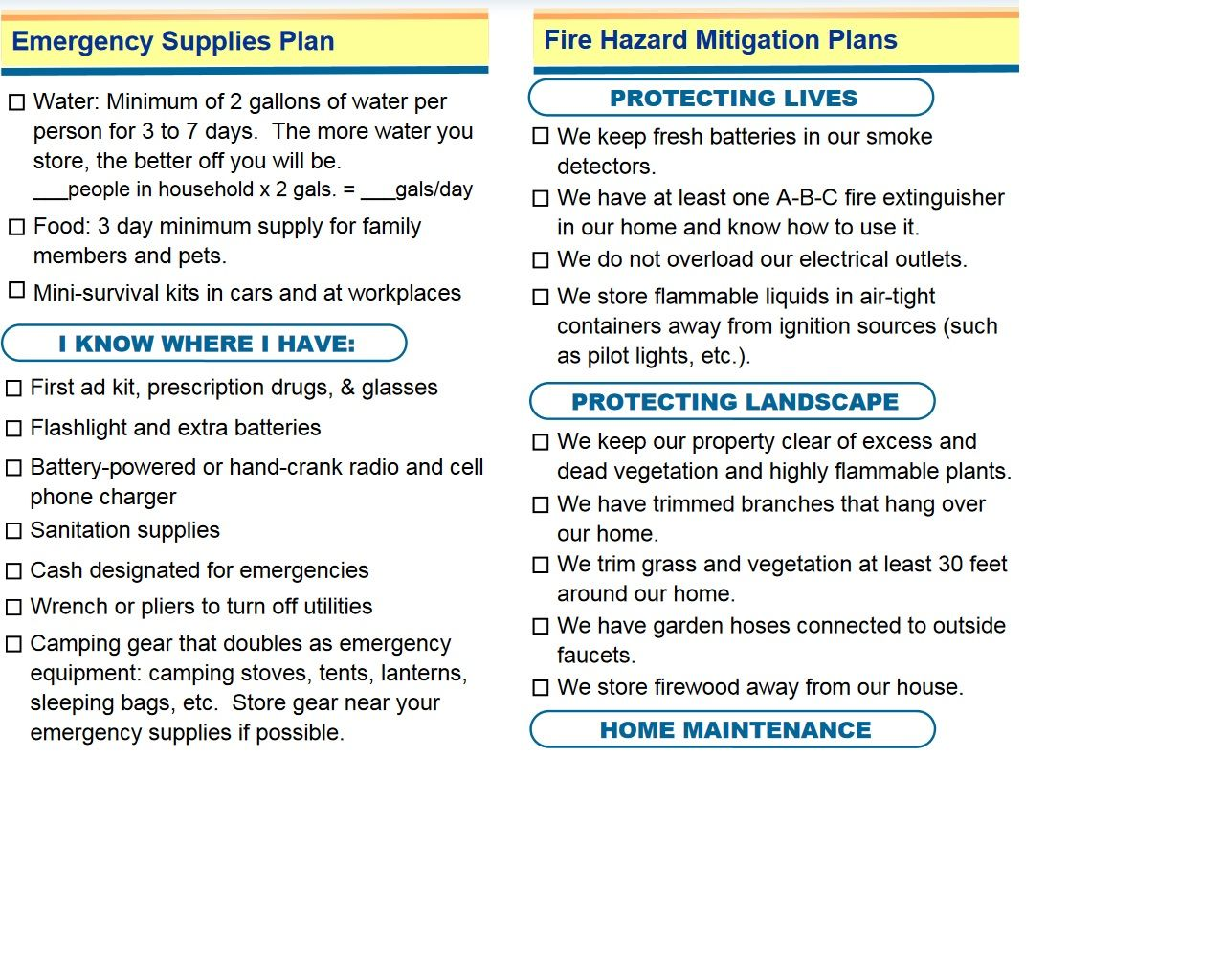 Disaster Planning Worksheet