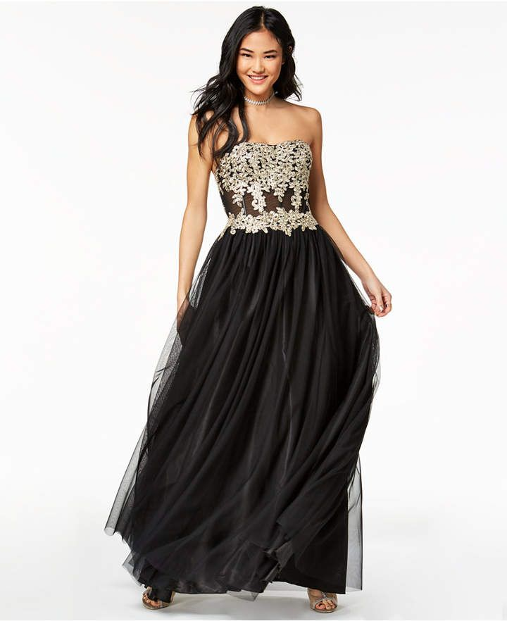 My Michelle Juniors Strapless Metallic Embroidered Ball Gown Ad