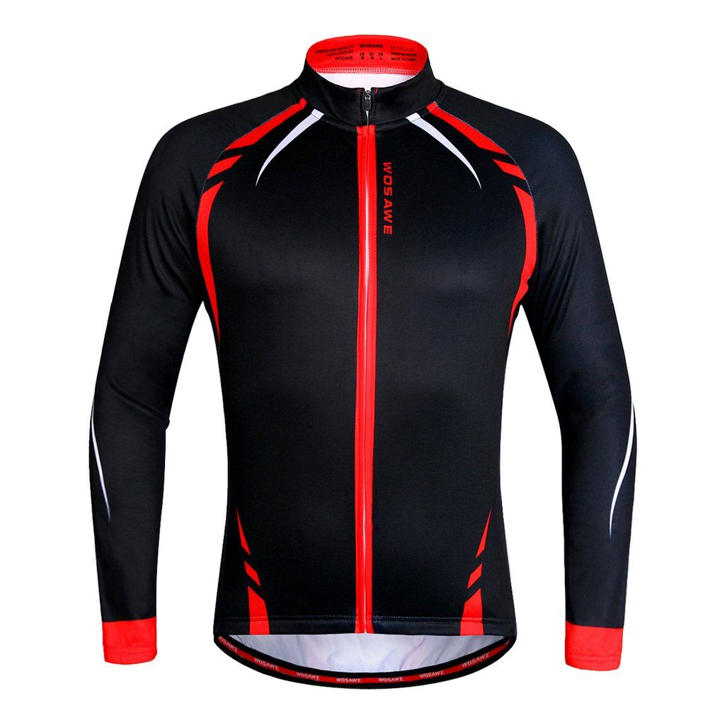 WOSAWE Men s Long Sleeve Cycling Jersey Breathable and Quick Dry Bike Shirt e1fe51b16