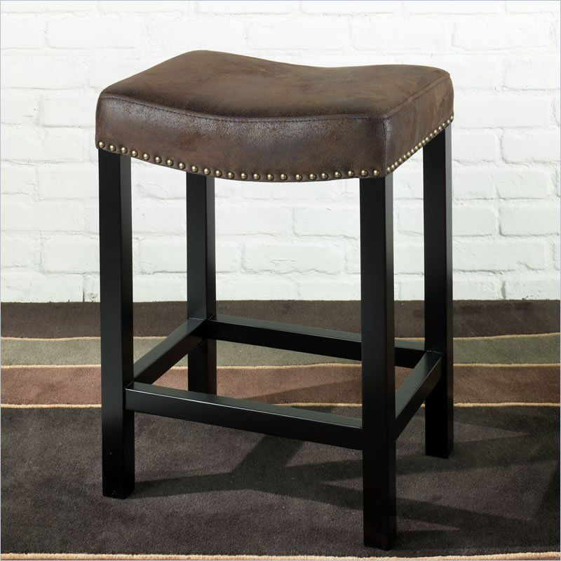 Armen Living Tudor 26 Backless Stationary Bar Stool In Wrangler