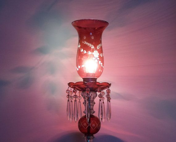 Items Similar To Off Sale Ruby Red Etched Glass Hurricane Lamp With Crystal  Prisms On Etsy