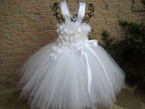 WHITE FLOWERS. TUTU dress, christening tutu dress, baptism gown ...