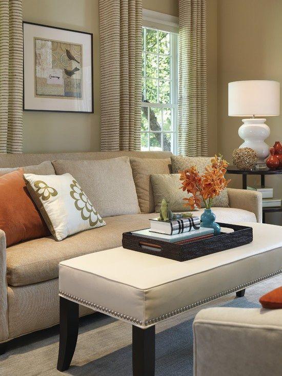 Tan Sofa Tan Walls And A Little Color Living Room Orange