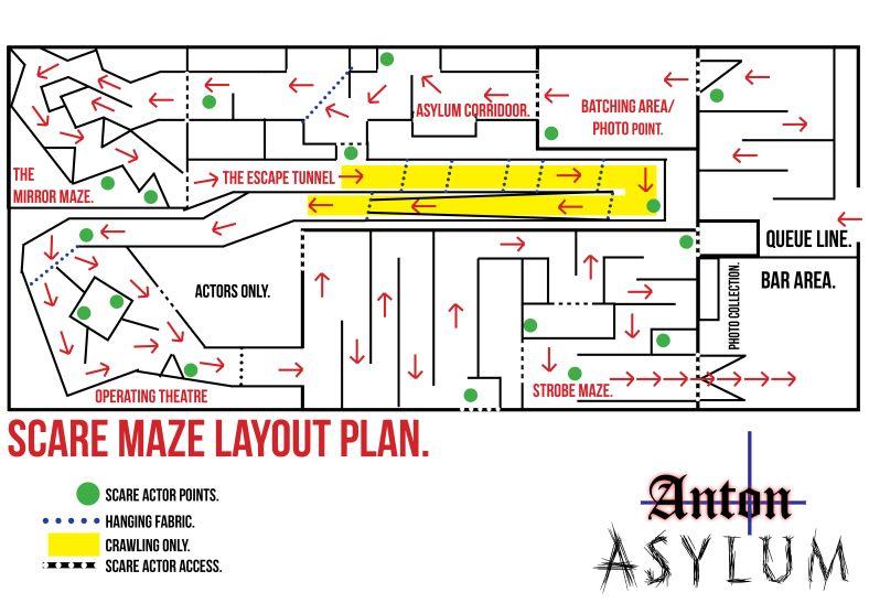 The Anton Asylum Scare Maze Layout Plan Halloween Maze Haunted Maze Haunted House