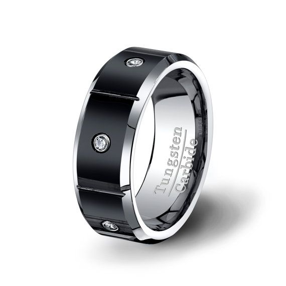 Mens Wedding Band Tungsten Ring In Black Surface Sectioned With 3 Brilliant Cz Diamond Stone Mens Wedding Bands Tungsten 8mm Tungsten Ring Black Tungsten Rings