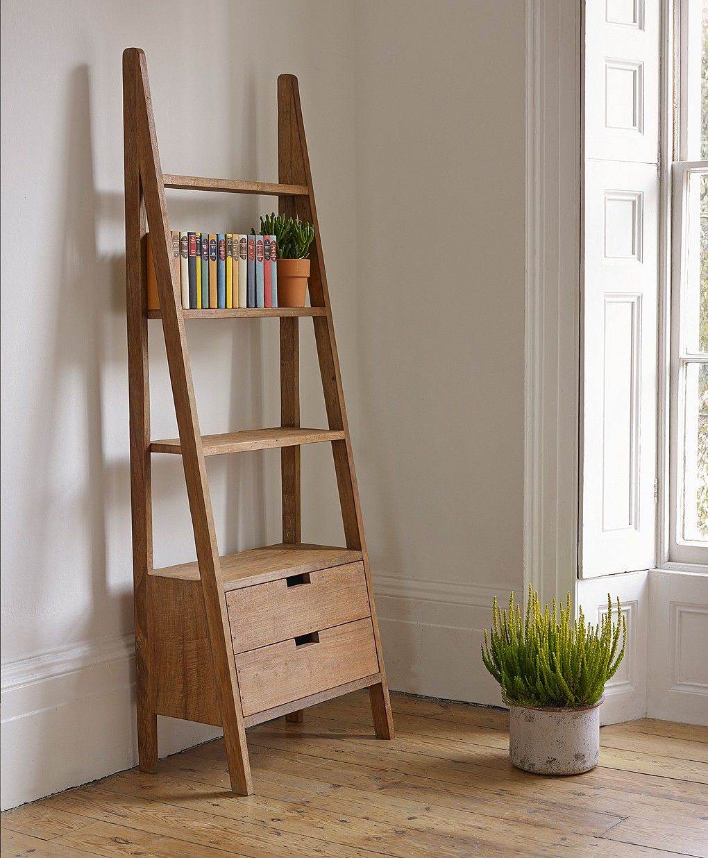 Solid Wood Ladder Book Shelfe With Two Storage Drawers And Also Four  Tier Shelf On White Painted Wall Along With Modern Style Ladder Shelf