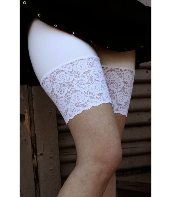 cb36458a84 White Stretch Lace Shorts size XS S M L XL 2XL 3XL Short Leggings with Lace  Trim around the Thigh Plus Size High Waist Waisted