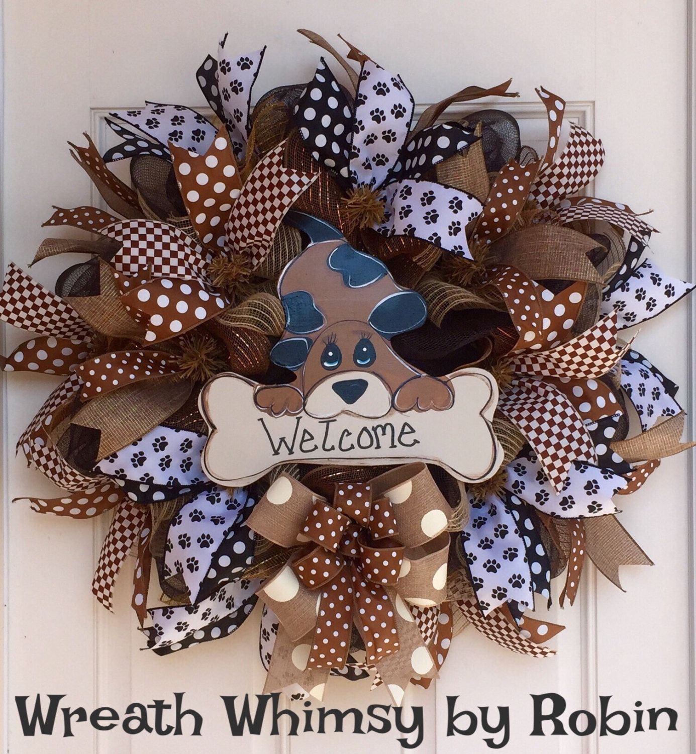Crafts For Dog Lovers: Dog Lover Deco Mesh Welcome Wreath, Groomer Gift