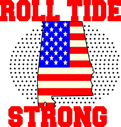 Roll Tide Strong Roll Tide Strong American Flag Round 500x526 Png Download Roll Tide Tide Logo Alabama Roll Tide