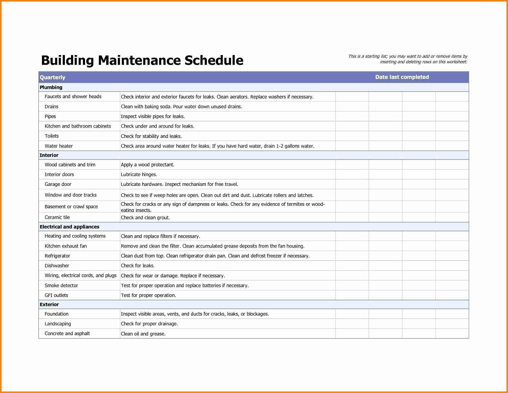 Facility Maintenance Schedule Excel Template Luxury Building