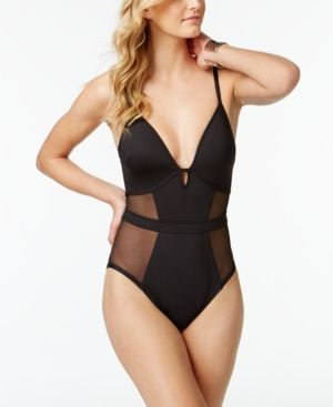3b503dadddbe3 Kenneth Cole Sexy Solids Mesh Inset Push-Up Tummy Control One-Piece Swimsuit  - Black XL