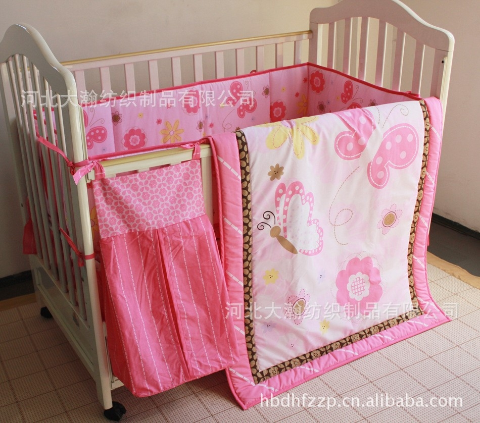 97.99$  Watch here - http://alifub.worldwells.pw/go.php?t=32349550398 - Promotion! 5PCS crib bedding set bedsheet bedskrit bedskrit nappy bag for girls (bumper+duvet+bed cover+bed skirt+diaper bag)