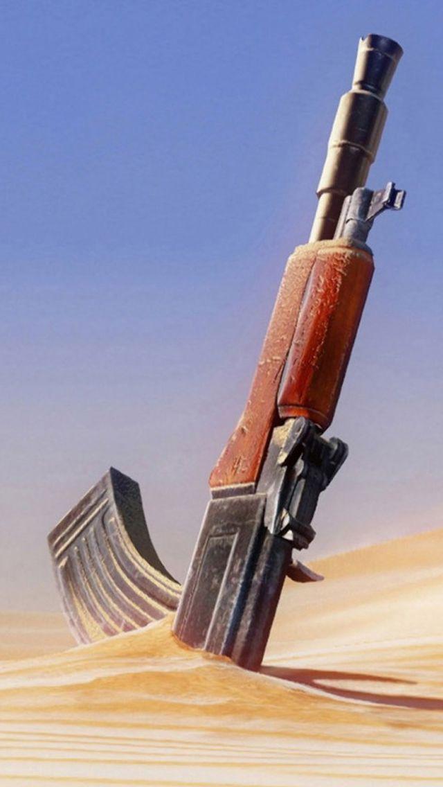Machine Gun Knocked In Desert IPhone 5s Wallpaper