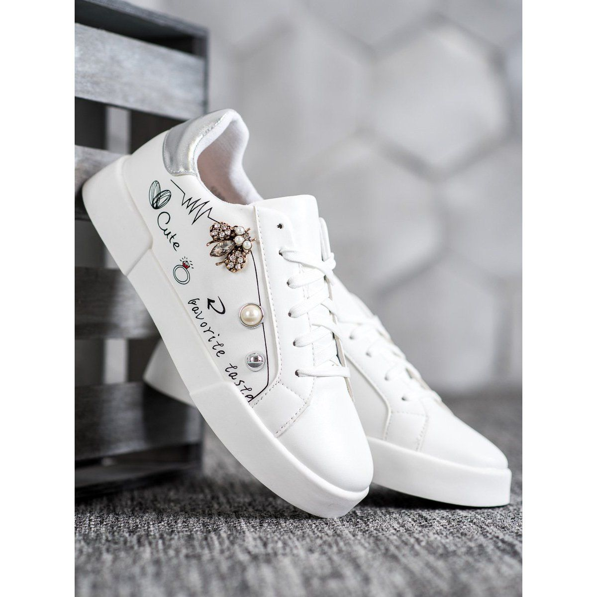 Bestelle Buty Sportowe Z Ozdobami Biale Wedding Sneaker Sneakers Shoes