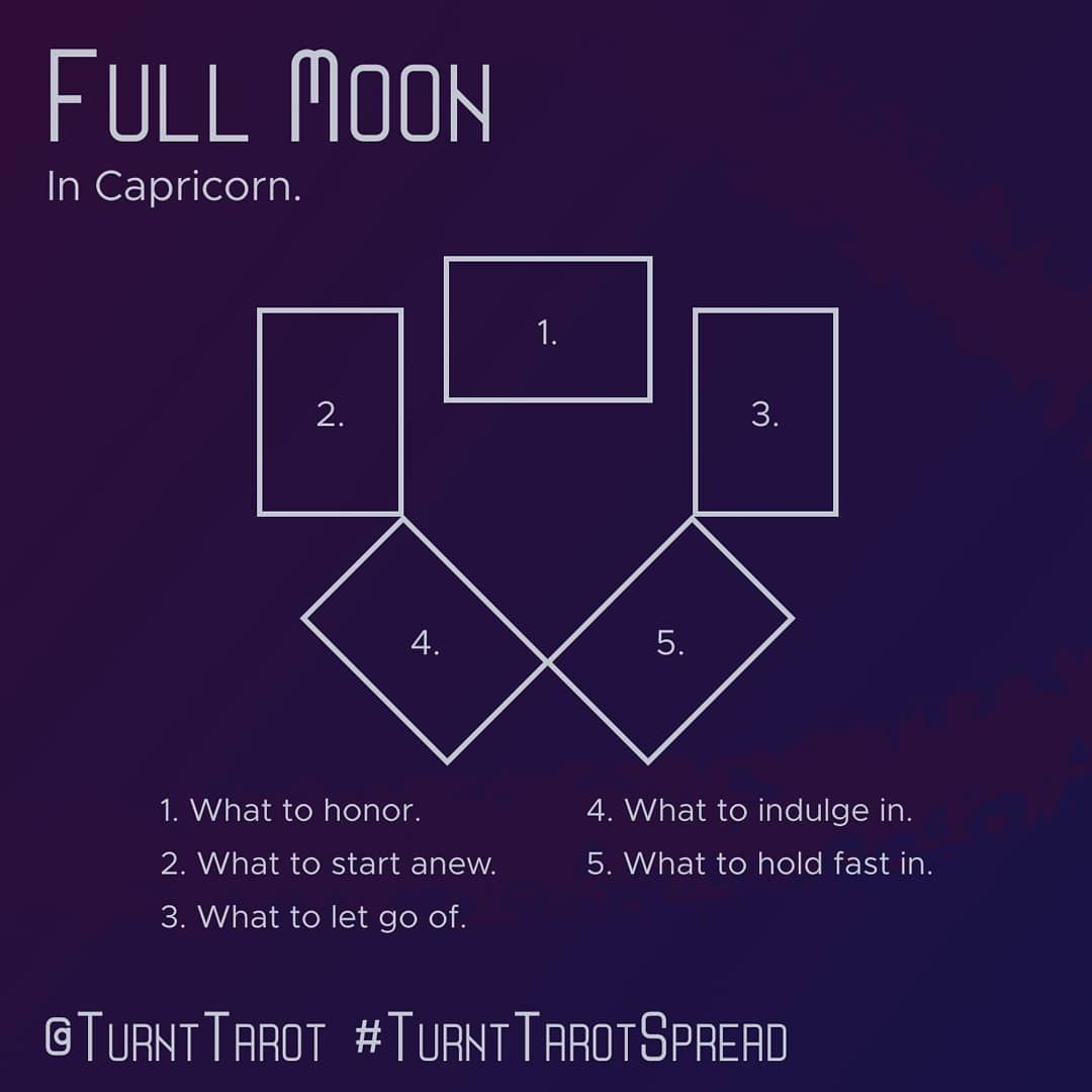 "Turnt Tarot | Spreads and More on Instagram: ""Full Moon in Capricorn. Time for a new beginning the middle of the year. A renewal of Capricorn energy. Find out what energy will push…"" #fullmoontarotspread"