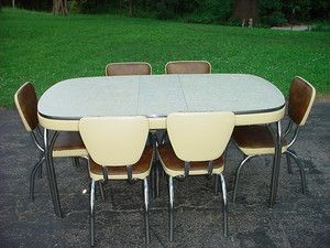 1950 Chrome Tables 1940s 1950s Formica Chrome Dinette Set By Arvin Kitchen Table 6 Chairs Dinette Sets Kitchen Table Settings Kitchen Table