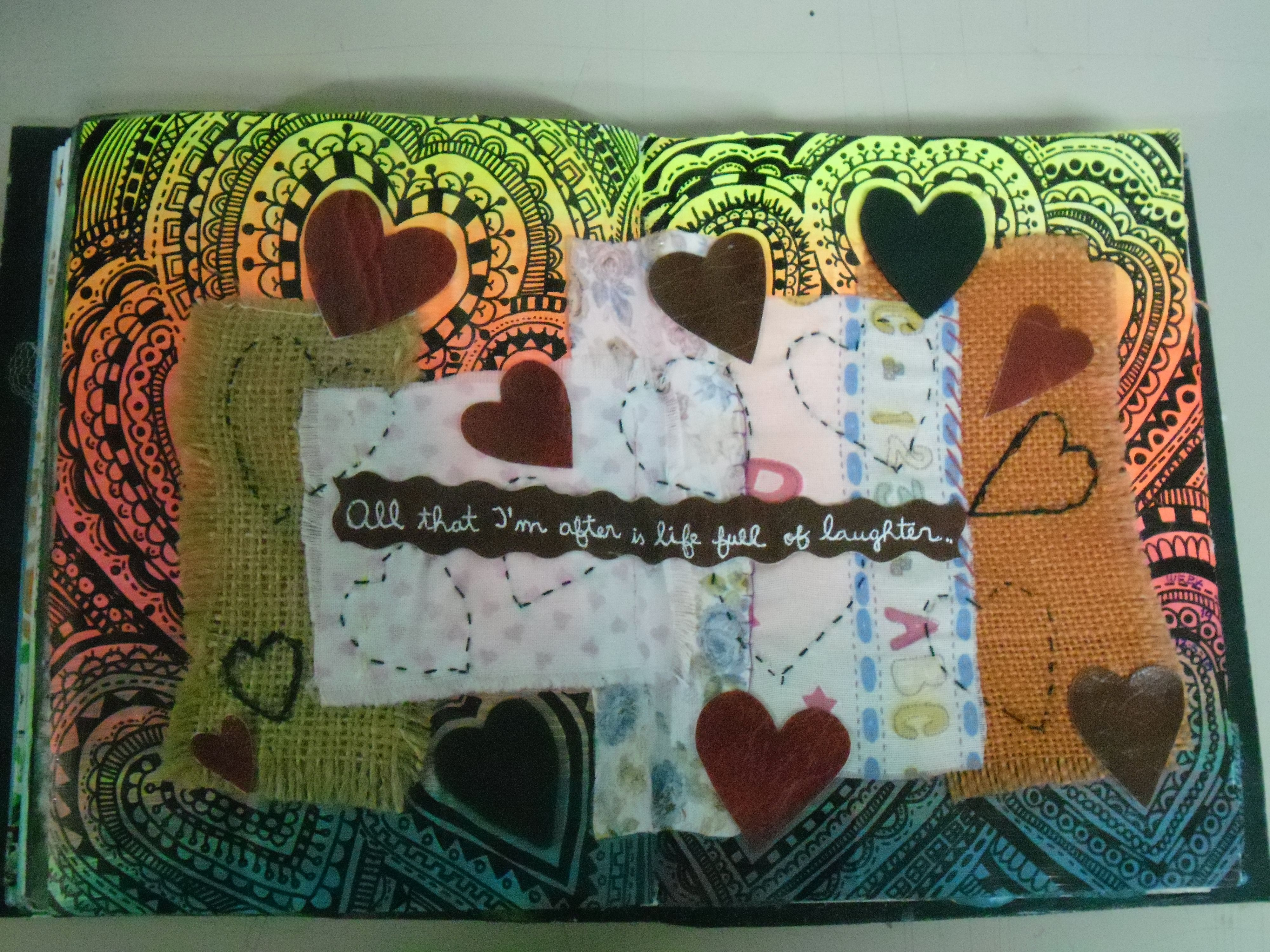 Altered books - art journal - fluo acrylics, waterproof marker and different kinds of fabric
