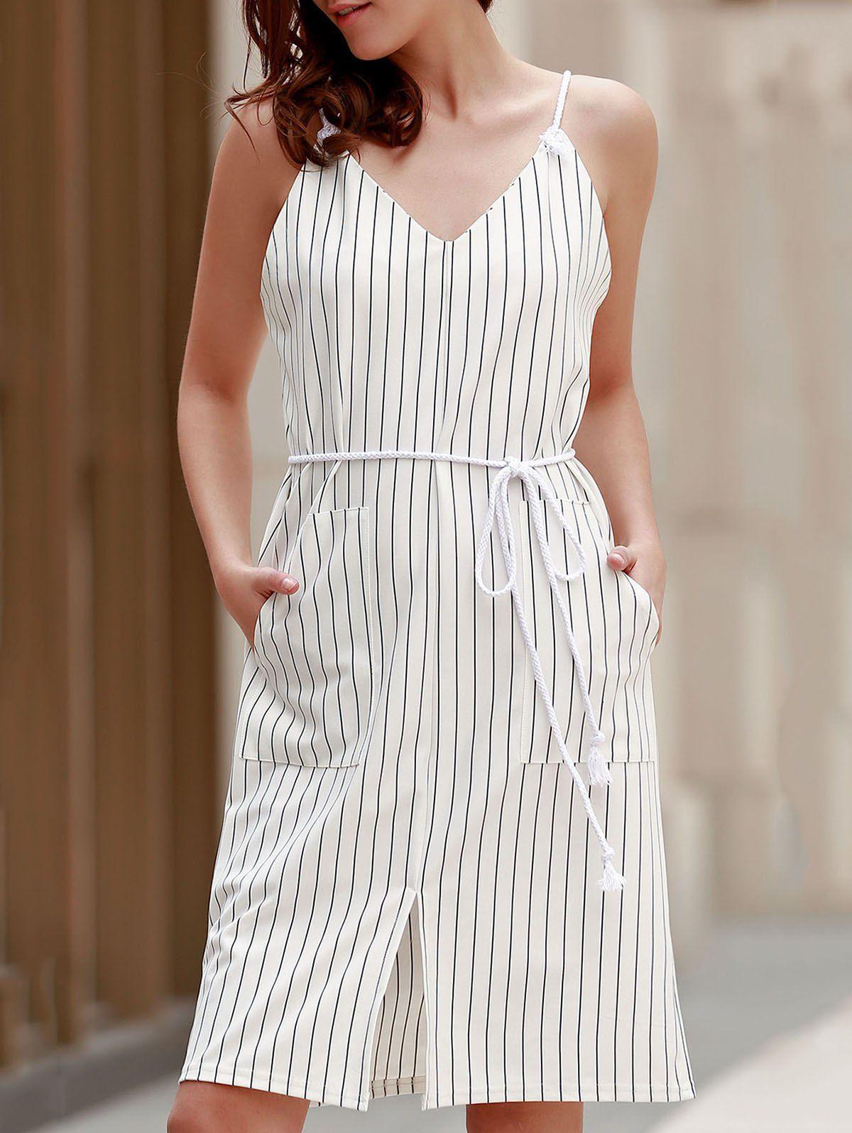 Brief Vertical Stripe Spaghetti Strap Summer Dress For Women Summer Dresses For Women Striped Dress Summer Summer Dresses [ 1596 x 1200 Pixel ]