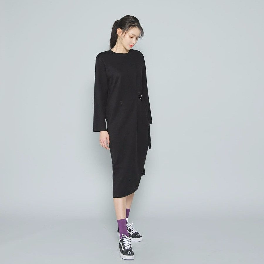 Envylook side squarebuckled strap long dress koreanfashion