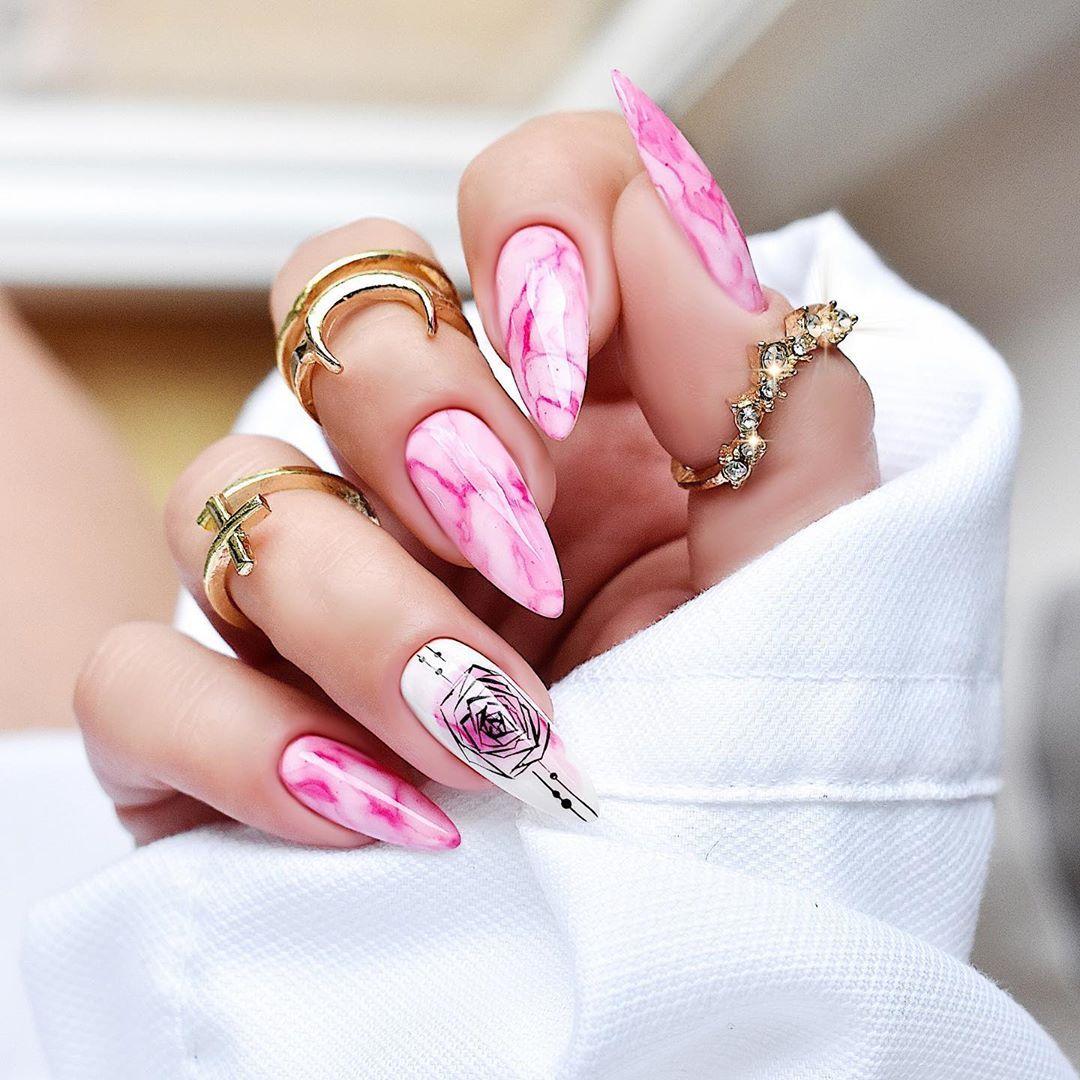 Nails Designer On Instagram Marmurek Wykonany Tuszem