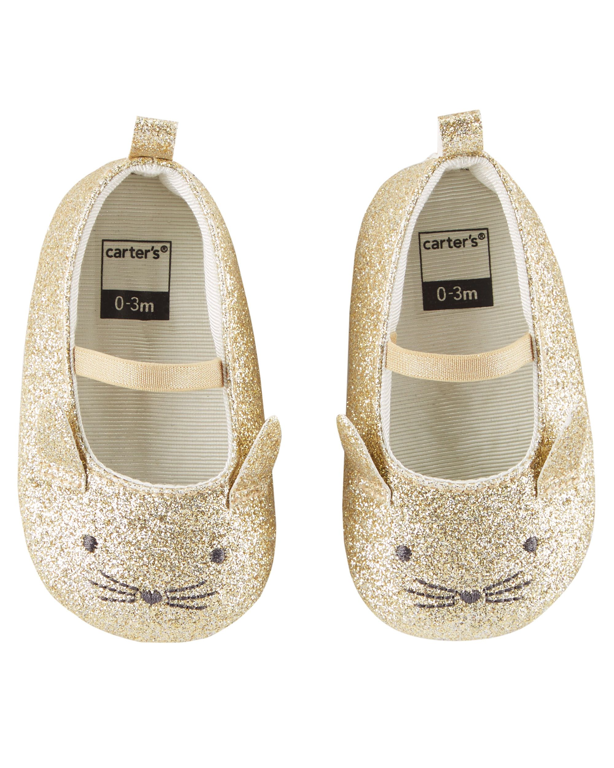 5a9a263ea487 Baby Girl Carter s Glitter Mary Jane Crib Shoes