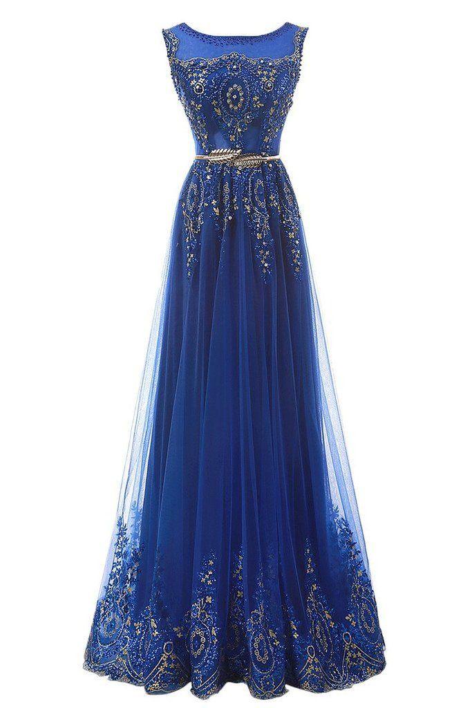 Gorgeous Scoop Neck Prom Dresses,Tulle Appliques Prom Dresses,Long ...
